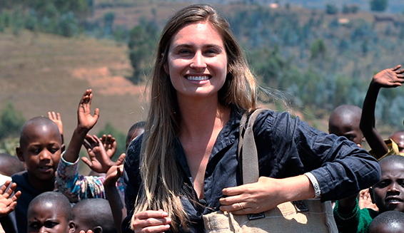 Photo of Lauren Bush with the children